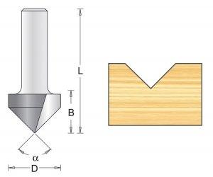 Frez rowkowy V 12,7x44x90mm chwyt 8mm