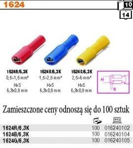Beta 1624R/6.3K Końcówki kablowe zaciskowe płaskie izolowane 100szt