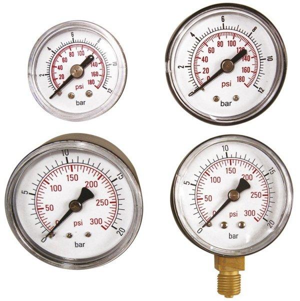 "ADLER Wskaźnik ciśnienia 0-12bar 1/4"" tylny"