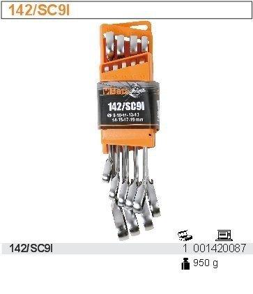 Beta 142/SC9I Zestaw 9 kluczy płasko-oczkowych z mechanizmem zapadkowym stojak