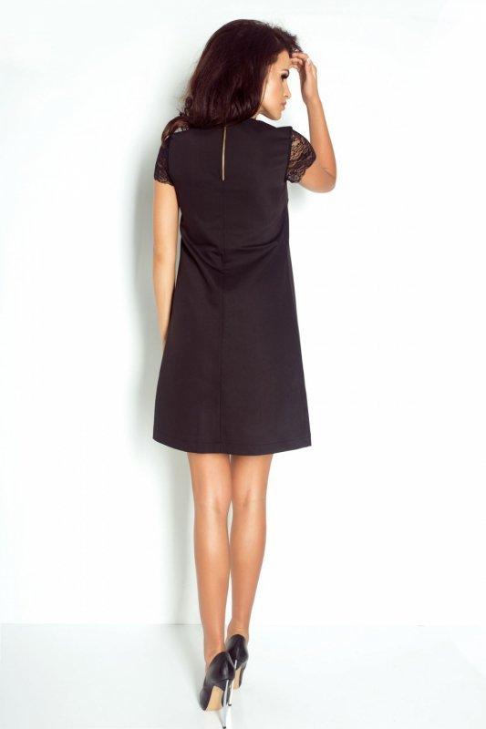 Trapezowa Sukienka Betty z koronkowym Rękawem - czarny