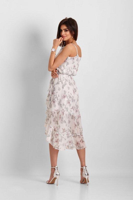 Szyfonowa asymetryczna sukienka Chantal - biały kwiaty