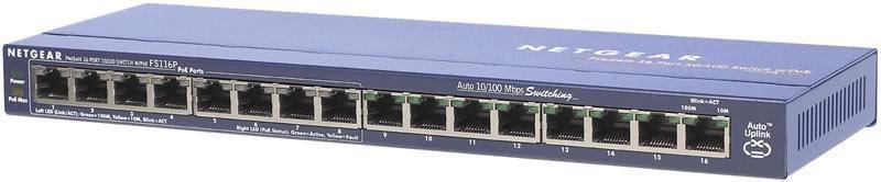 Netgear Switch Unmanaged 16xFE (8xPoE) - FS116PEU