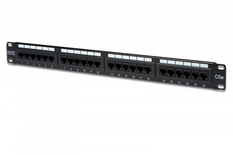 """Digitus Patch panel 19"""" 24 porty, kat.5e, U/UTP, 1U, wspornik kablowy, czarny (kompletny)"""