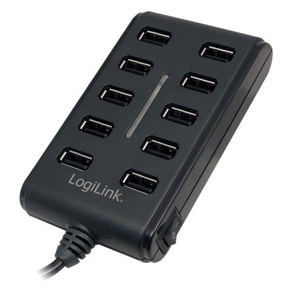 LogiLink 10-Portowy HUB USB2.0 z wlacznikiem ON/OFF