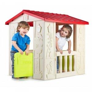 FEBER Domek Ogrodowy dla Dzieci Happy House Otwierane Drzwi i Balkon