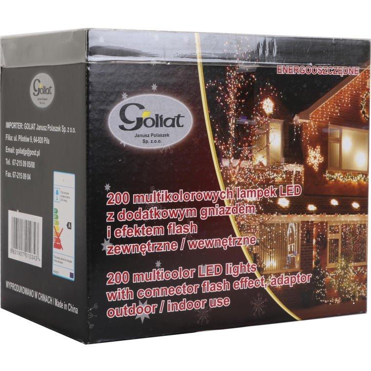 LAMPKI CHOINKOWE 200 LED  MULTIKOLOR + GNIAZDO + FLASH