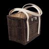 Torebka kosz na zakupy z obszyciem (wenge/krem)  - sklep z wiklina - zdjęcie