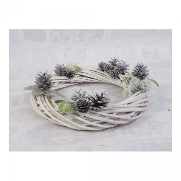 Wianek dekoracyjny (Biały/30cm) - sklep z wiklina - zdjęcie 1
