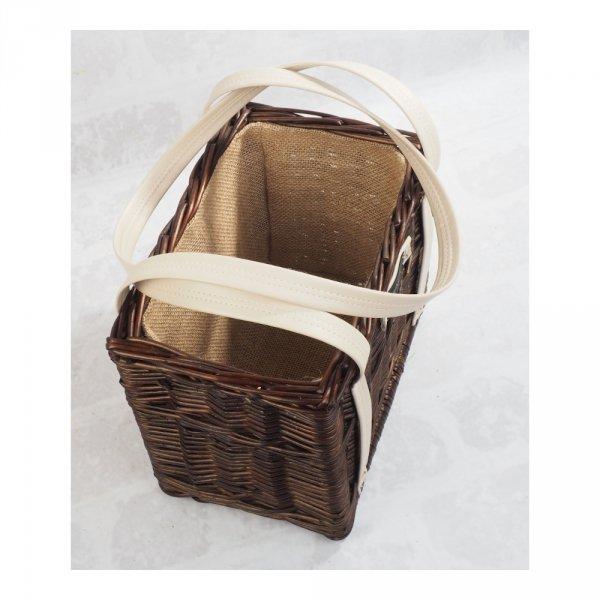 Torebka kosz na zakupy z obszyciem (wenge/krem)  - sklep z wiklina - zdjęcie 1