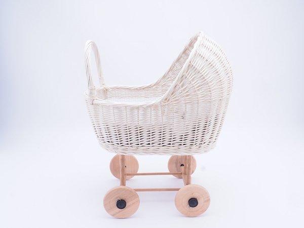 Wózek dla lalek biały (Klasyczny/Wzór) - Sklep z wiklina - zdjęcie 3