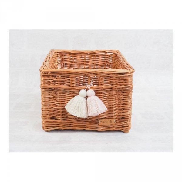 Skrzynka z pomponami (28cm) - sklep z wiklina - zdjęcia 2
