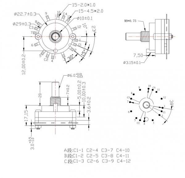 Przełącznik obrotowy 3 pozycje, 4 obwody, 30mm