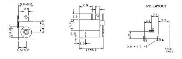 Gniazdo DC power 2.5mm (PCB) CLIFF