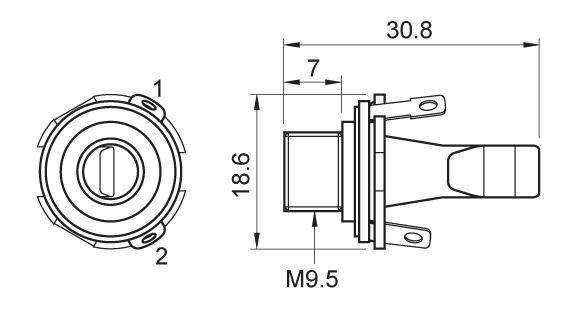 Gniazdo Jack 6,3mm mono MJ3