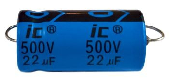 Kondensator 22uF 500V, osiowy Illinois