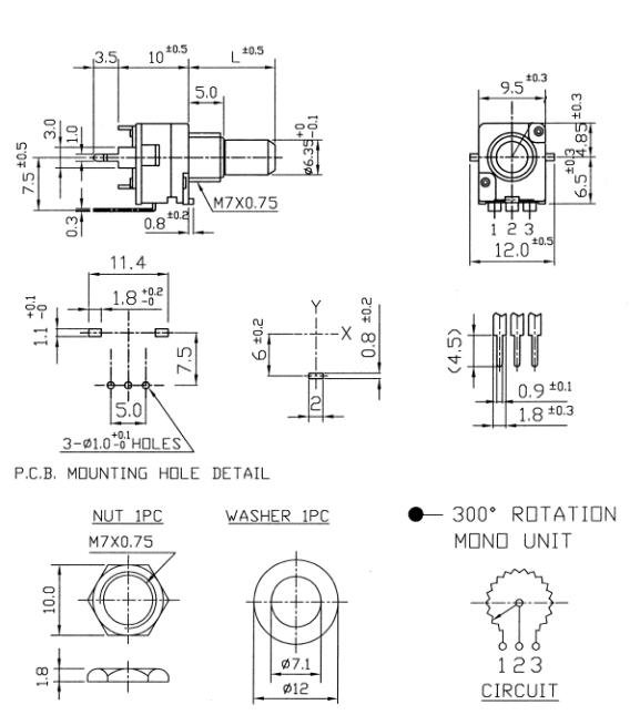 Alpha 9mm - 100k/A logarytmiczny, 11 detents