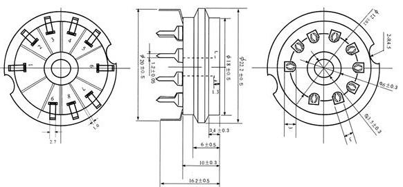 Podstawka Noval 9pin druk typ4 ceramiczna