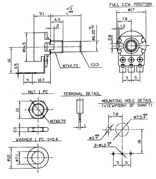 Alpha 250k/B liniowy PCB-V