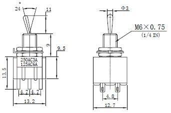 Przełącznik dźwigniowy DPDT M202 mini