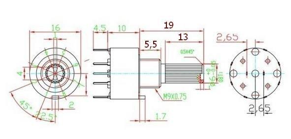 Przełącznik obrotowy 6 pozycji 1 obw. 16mm