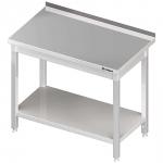 stół stalowy z półką, przyścienny, skręcany, 1400x600x850 mm