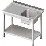 stół stalowy z półką ze zlewem 1-komorowym prawym, skręcany, blat tłoczony, 1000x600x850 mm