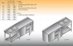 Stół zlewozmywakowy 2-zbiornikowy lo 244 - 2600x700