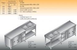 Stół zlewozmywakowy 2-zbiornikowy lo 257/s2 - 2600x700
