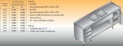 Stół zlewozmywakowy 2-zbiornikowy lo 251/s3 - 2800x700