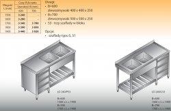 Stół zlewozmywakowy 2-zbiornikowy lo 240/s3 - 1800x600