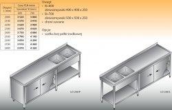 Stół zlewozmywakowy 2-zbiornikowy lo 248 - 2500x600