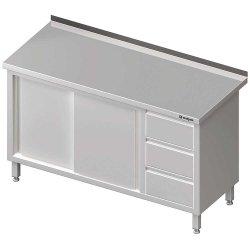Stół przyścienny z blokiem trzech szuflad (P),drzwi suwane 1800x700x850 mm