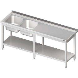 Stół ze zlewem 2-kom.(L),z półką 2200x700x850 mm