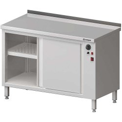 Stół przyścienny, z szafką grzewczą,drzwi suwane 1300x600x850 mm