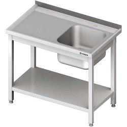 Stół stalowy z półką ze zlewem 1-komorowym prawym, skręcany, 1000x600x850 mm