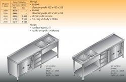 Stół zlewozmywakowy 2-zbiornikowy lo 257/s3 - 2700x600