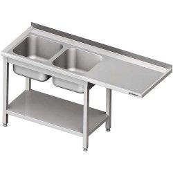 Stół ze zlewem 2-kom.(L) i miejscem na lodówkę lub zmywarkę 2200x600x900 mm