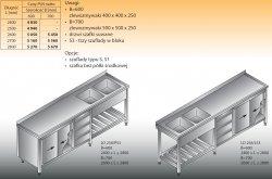 Stół zlewozmywakowy 2-zbiornikowy lo 258/s3 2600x600