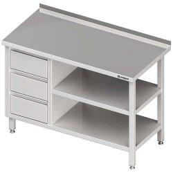 Stół przyścienny z blokiem trzech szuflad (L),i 2-ma półkami 1600x600x850 mm