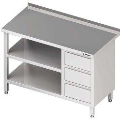 Stół przyścienny z blokiem trzech szuflad (P),i 2-ma półkami 1700x700x850 mm