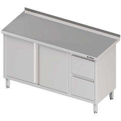 Stół przyścienny z blokiem dwóch szuflad (P),drzwi skrzydłowe 1800x700x850 mm