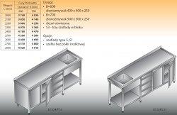 Stół zlewozmywakowy 1-zbiornikowy lo 224/s3 - 2800x700