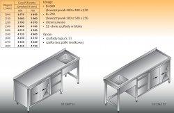Stół zlewozmywakowy 1-zbiornikowy lo 226/s2 - 2800x700