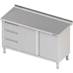 Stół przyścienny z blokiem trzech szuflad (L),drzwi skrzydłowe 1600x600x850 mm