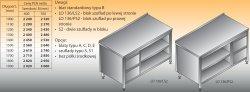 Stół roboczy z blokiem szuflad i szafką otwartą lo 136/s2 - 1600x700