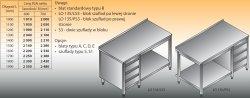 Stół roboczy z blokiem szuflad i półką lo 135/s3 - 1900x600