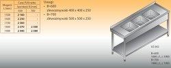 Stół zlewozmywakowy 3-zbiornikowy lo 262 - 1900x700