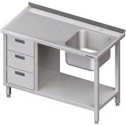 Stół ze zlewem 1-kom.(P), z blokiem trzech szuflad i półką 1500x700x850 mm