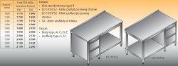 Stół roboczy z blokiem szuflad i półką lo 135/s2 - 1100x700